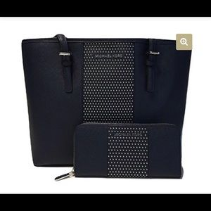 Michael Kors Jet Travel Micro Stud Tote and Wallet